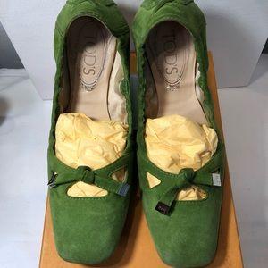 💚 Tod's Ballerina Nappine Slippers - Green 💚